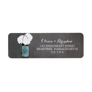 Mason Jar Hydrangeas Chalkboard Return Address Label at Zazzle
