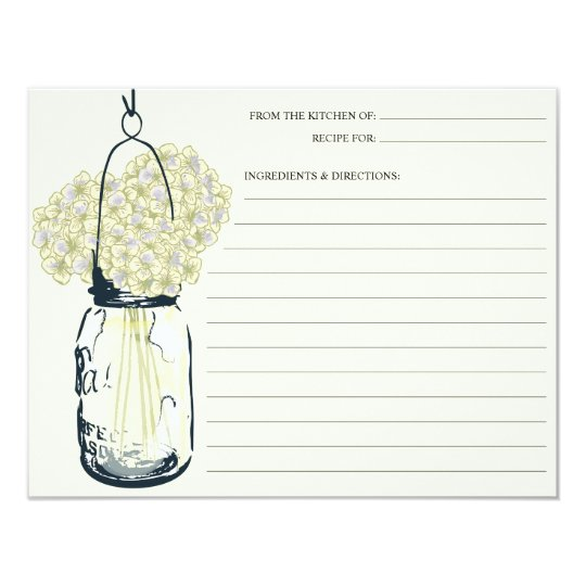 Mason Jar & Hydrangeas Recipe Card