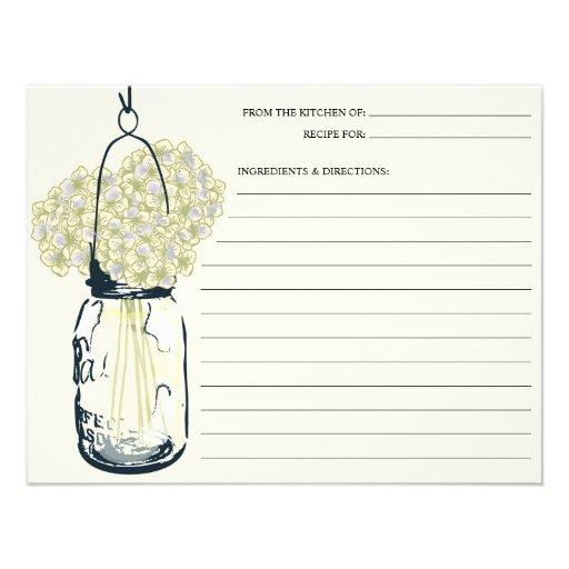 Mason Jar & Hydrangeas Recipe Card