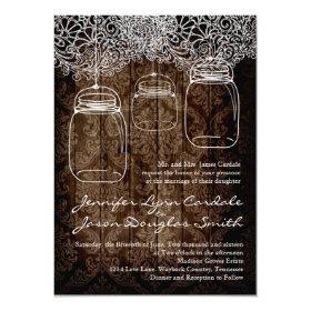 Mason Jar Lace Barn Wood Wedding Invitations 4.5