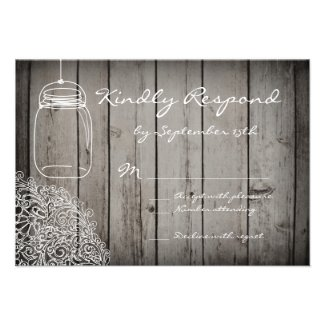 Mason Jar Lace Barn Wood Wedding RSVP Cards