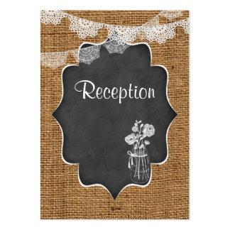 Mason Jar, Lace, Burlap, Chalkboard Wedding Insert Large Business Card