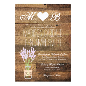Mason Jar Lavender Barn Wood Wedding Invitations