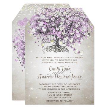 Valentines Themed Mason Jar Lavender Heart Leaf Tree Wedding Card