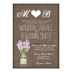 Mason Jar Lavender Rustic Burlap Wedding Invites