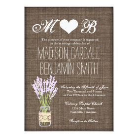 Mason Jar Lavender Rustic Burlap Wedding Invites