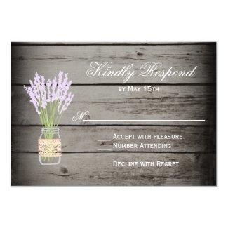 Mason Jar Lavender Rustic Wood Wedding RSVP Cards