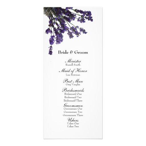 Mason Jar Lavender Wedding Program Rack Card Design