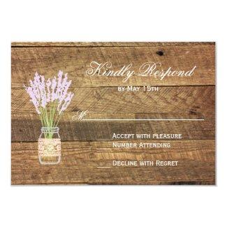 Mason Jar Lavender Wedding RSVP Cards