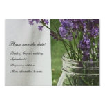 "Mason Jar Lavender White Porch save the date 3.5"" X 5"" Invitation Card"