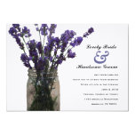"Mason Jar Lavender White Wedding Invitation 5"" X 7"" Invitation Card"