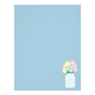 Mason Jar Light Blue Canning Floral Modern Flyer