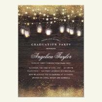 Mason Jar Lights and Rustic Wood Graduation Party Invitation