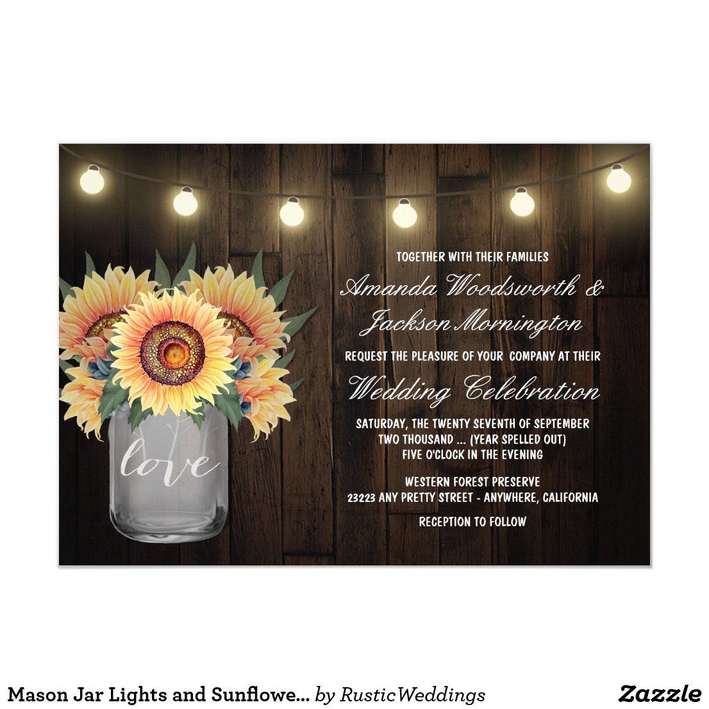 Mason Jar Lights and Sunflower Wedding Invitations
