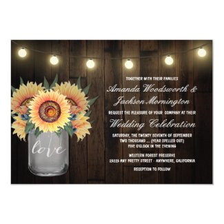 Mason Jar Lights and Sunflower Wedding Invitations