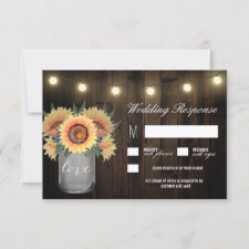 Mason Jar Lights and Sunflower Wedding RSVP Cards