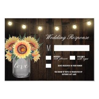 Mason Jar Lights and Sunflower Wedding RSVP Cards