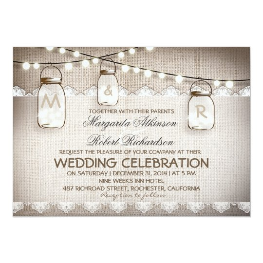 mason jar lights - burlap lace rustic wedding card | zazzle, Wedding invitations