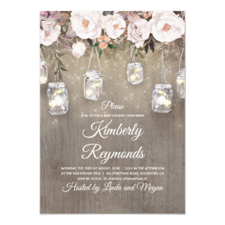 Mason Jar Lights Floral Rustic Baby Shower Invitation