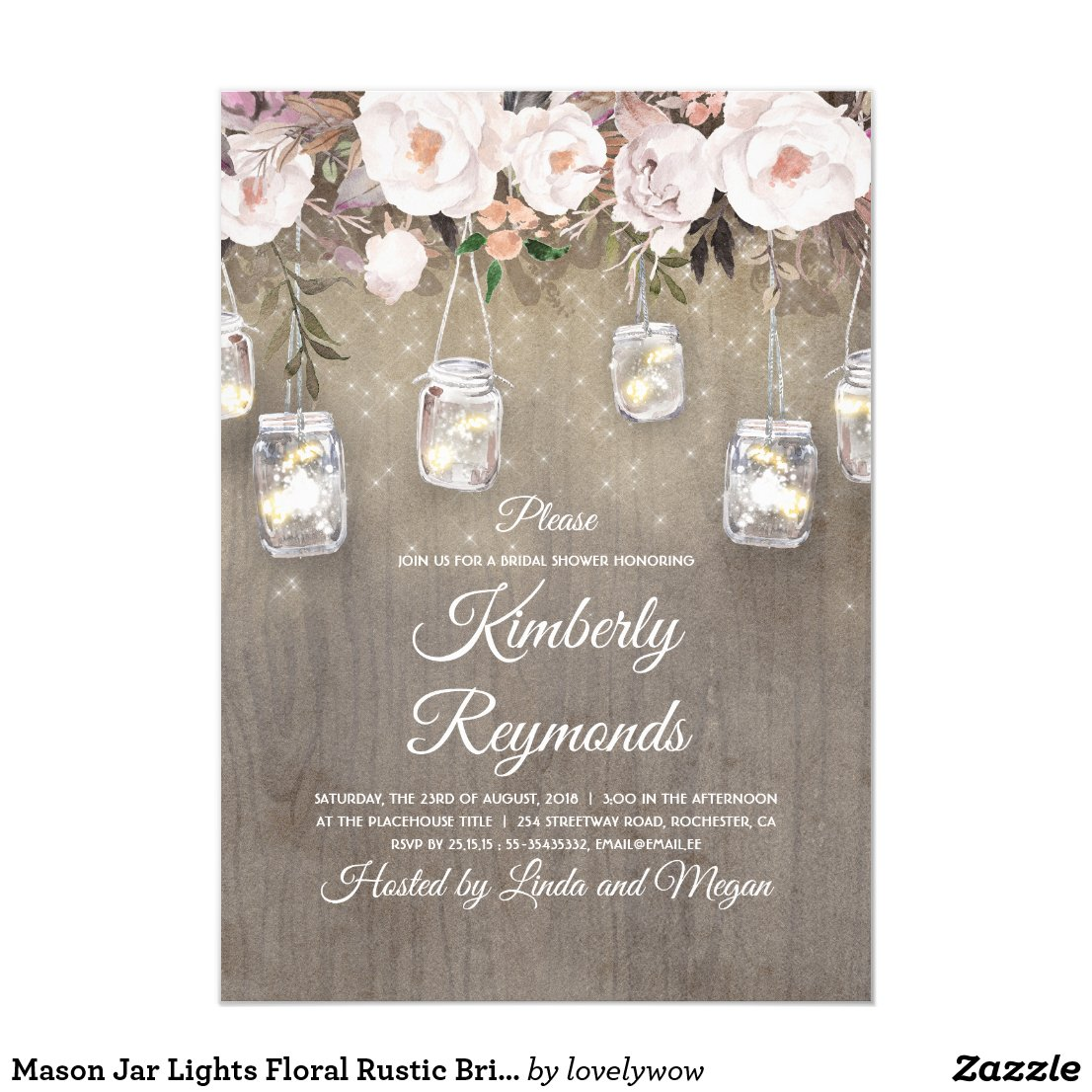 Mason Jar Lights Floral Rustic Bridal Shower Invitation
