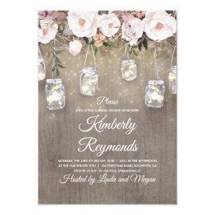 772f542cc0aa Mason Jar Lights Floral Rustic Bridal Shower Invitation
