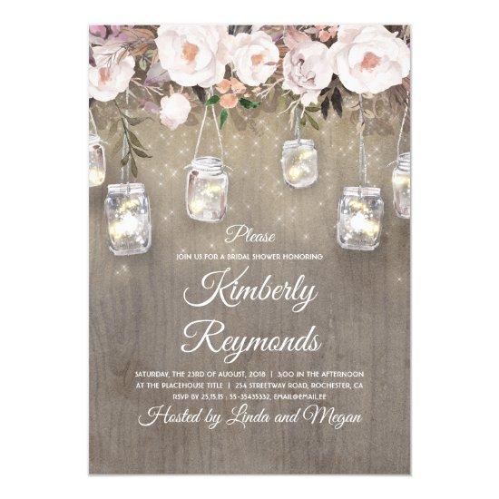 c856467d512a Mason Jar Lights Floral Rustic Bridal Shower Invitation