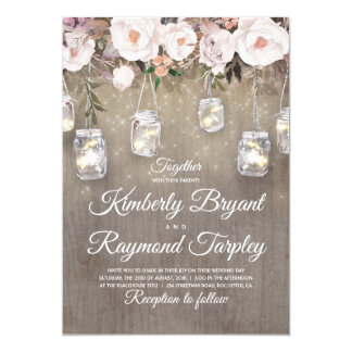 Mason Jar Lights Floral Rustic Wedding Card