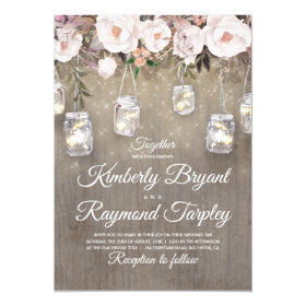 Mason Jar Lights Floral Rustic Wedding Invitation