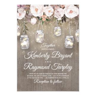 Mason Jar Lights Floral Rustic Wedding Invitation