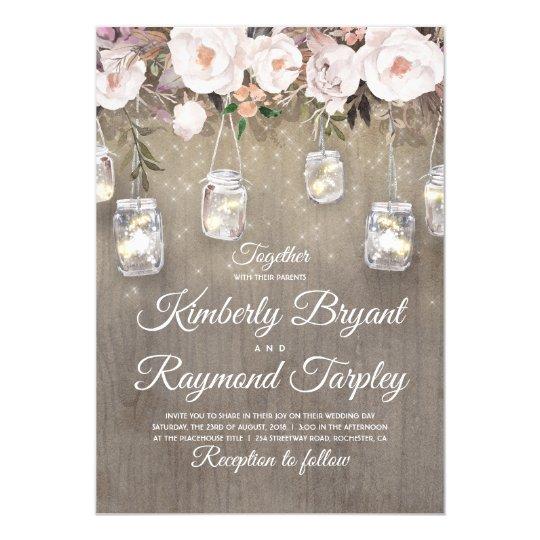 Wedding Invitations Mason Jar: Mason Jar Lights Floral Rustic Wedding Invitation