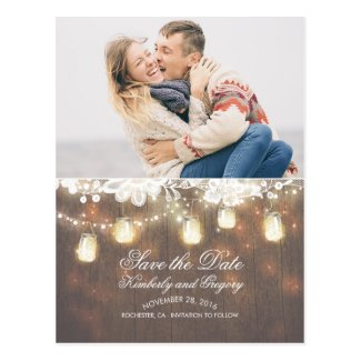 Mason Jar Lights Lace Rustic Photo Save the Date Postcard