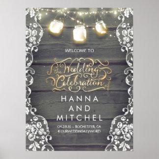 Mason Jar Lights Lace Wood Wedding Welcome Sign