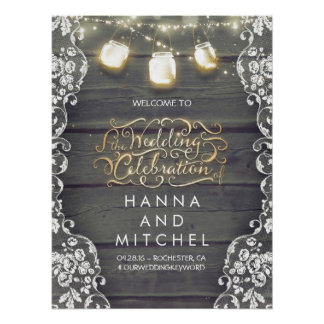 Mason Jar Lights Lace Wood Wedding Welcome Sign Poster