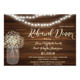 Mason Jar & lights Rehearsal Dinner Invitation