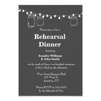 Mason jar lights rehearsal dinner invitations
