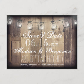 Mason Jar Lights Rusti Wood Save the Date Postcard