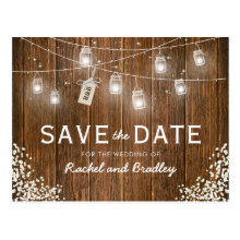 Mason Jar Lights Rustic Babys Breath Save the Date Postcards