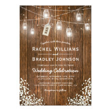 Mason Jar Lights Rustic Babys Breath Wedding Invitations