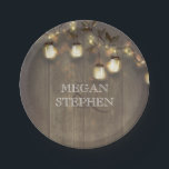 "Mason Jar Lights Rustic Barn Wedding Paper Plate<br><div class=""desc"">Rustic country string lights and mason jars branches wedding paper plates</div>"