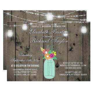 Mason Jar Lights Rustic Couples Wedding Shower Card