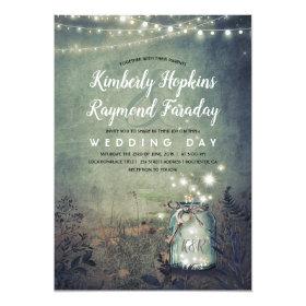 Mason Jar Lights | Rustic Garden | Evening Wedding Invitation