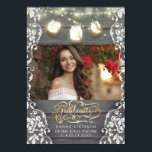 """Mason Jar Lights Rustic Photo Graduation Party Card<br><div class=""""desc"""">Rustic wood,  enchanted string lights mason jars,  lace and gold typography photo graduation announcement and graduation party invitation in one</div>"""