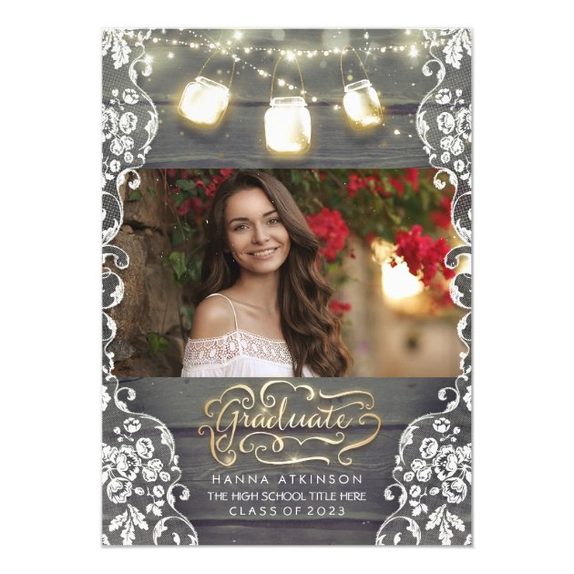 Mason Jar Lights Rustic Photo Graduation Party Card (front side)