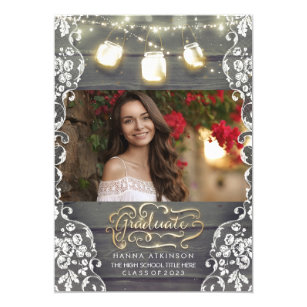 Graduation party invitations zazzle mason jar lights rustic photo graduation party invitation filmwisefo