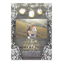 Mason Jar Lights Rustic Photo I DO BBQ Photo Invitation