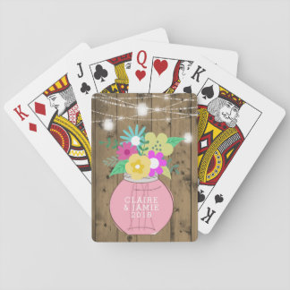 Mason Jar Lights Rustic Wedding Favor Playing Cards