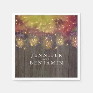 Mason Jar Lights Rustic Wedding Napkin
