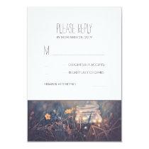 Mason Jar Lights Rustic Wedding RSVP Cards
