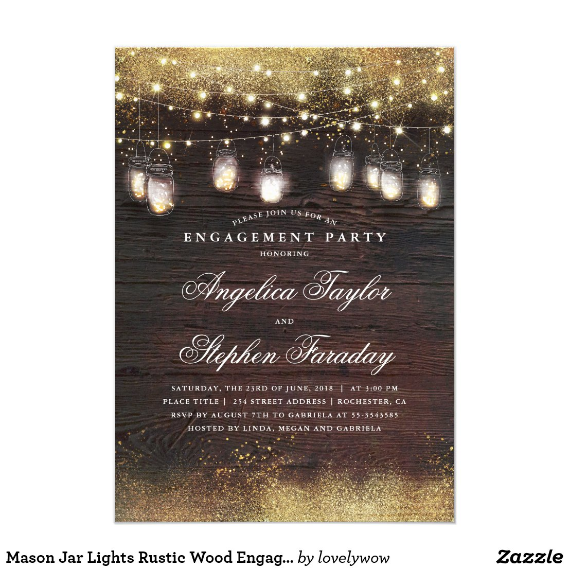 Mason Jar Lights Rustic Wood Engagement Party Invitation