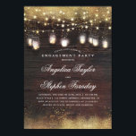 "Mason Jar Lights Rustic Wood Engagement Party Invitation<br><div class=""desc"">Gold glitter,  rustic wood,  and mason jar string lights engagement party invitations.</div>"